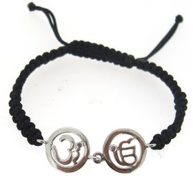 Om  Ik Onkaar Bracelet in Silver with Diamonds on Nylon thread