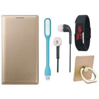 Motorola Moto C Plus Leather Flip Cover with with Ring Stand Holder, Digital Watch, Earphones and USB LED Light