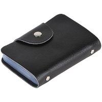 Zakina Men Black Genuine Leather Card Holder  (12 Card Slots)