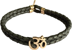 Auspicious Gold Aum Mens Leather Bracelet with Gold Lock