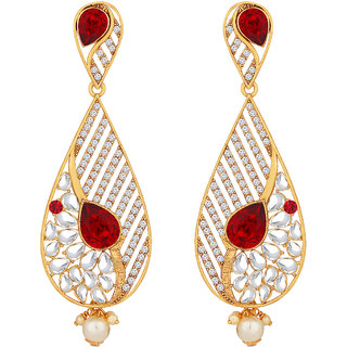 Spargz Antique Gold Plated AD Stone Big Long Indian Style Dangle  Chandelier Earrings For Women AIER 1353