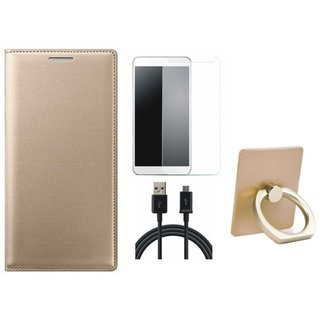 Samsung J7 Max ( SM-G615F ) Leather Cover with Ring Stand Holder, Tempered Glass and USB Cable