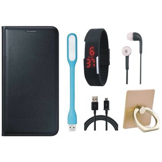 Samsung J7 Max ( SM-G615F ) Leather Flip Cover with with Ring Stand Holder, Digital Watch, Earphones, USB LED Light and USB Cable