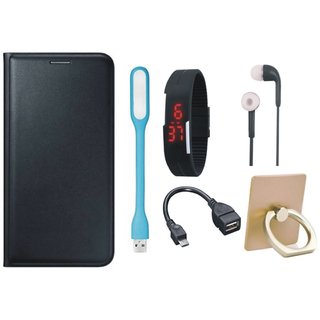 Samsung J7 Max ( SM-G615F ) Leather Flip Cover with with Ring Stand Holder, Digital Watch, Earphones, USB LED Light and OTG Cable
