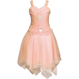 White World Birthday Party wear Baby Girls Net Fabric Peach Color Frock 12-18  Month Baby Girl 6f34ffa0e76f