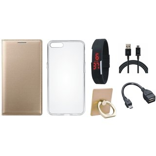 Samsung J7 Max ( SM-G615F ) Leather Cover with Ring Stand Holder, Silicon Back Cover, Digital Watch, OTG Cable and USB Cable