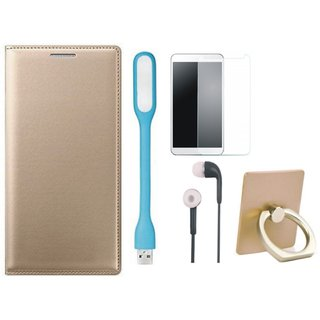 Samsung C7 Pro Leather Flip Cover with with Ring Stand Holder, Tempered Glass, Earphones and USB LED Light