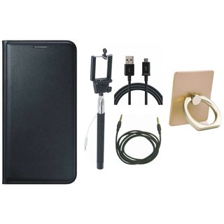 Moto C Plus Leather Cover with Ring Stand Holder, Selfie Stick, USB Cable and AUX Cable