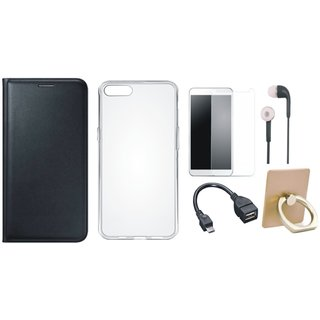 Moto C Plus Leather Cover with Ring Stand Holder, Silicon Back Cover, Tempered Glass, Earphones and OTG Cable