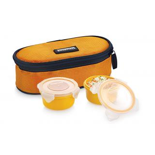 Colonial Smart Lock Sml-202 Airtight Yellow Tiffin Box With Insulated Bag Melamine -2 Pc Set