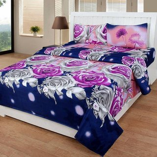 Status Micro Peach 1 Double Bedsheets with 2 Pillow Covers