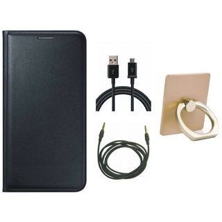 Lenovo K5 Plus Premium Leather Cover with Ring Stand Holder, USB Cable and AUX Cable