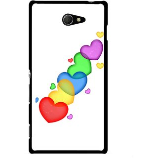 Snooky Printed Colorfull Hearts Mobile Back Cover For Sony Xperia M2 - Multicolour