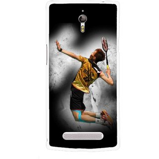 Snooky Printed Badminton Mania Mobile Back Cover For Oppo Find 7 - Multicolour