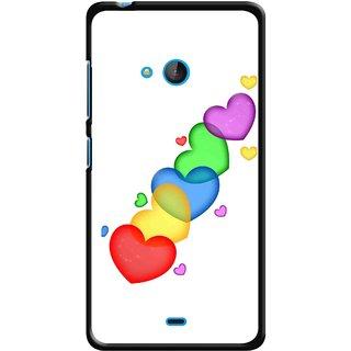 Snooky Printed Colorfull Hearts Mobile Back Cover For Nokia Lumia 540 - Multicolour
