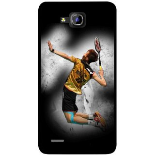 Snooky Printed Badminton Mania Mobile Back Cover For Huawei Honor 3C - Multicolour