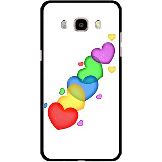 Snooky Printed Colorfull Hearts Mobile Back Cover For Samsung Galaxy J7 (2016) - Multicolour