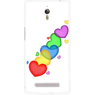 Snooky Printed Colorfull Hearts Mobile Back Cover For Oppo Find 7 - Multicolour