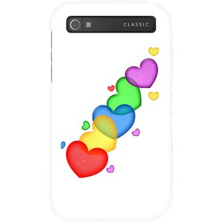 Snooky Printed Colorfull Hearts Mobile Back Cover For Blackberry Classic - Multicolour