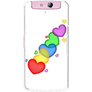 Snooky Printed Colorfull Hearts Mobile Back Cover For Oppo N1 - Multicolour