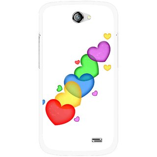 Snooky Printed Colorfull Hearts Mobile Back Cover For Gionee Pioneer P2 - Multicolour
