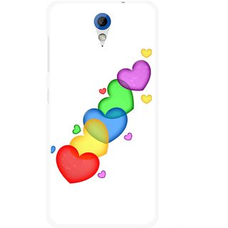 Snooky Printed Colorfull Hearts Mobile Back Cover For HTC Desire 620 - Multicolour