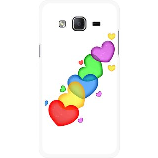 Snooky Printed Colorfull Hearts Mobile Back Cover For Samsung Galaxy On7 - Multicolour