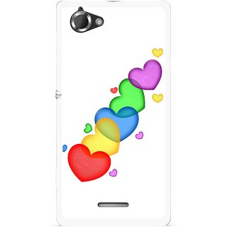 Snooky Printed Colorfull Hearts Mobile Back Cover For Sony Xperia L - Multicolour