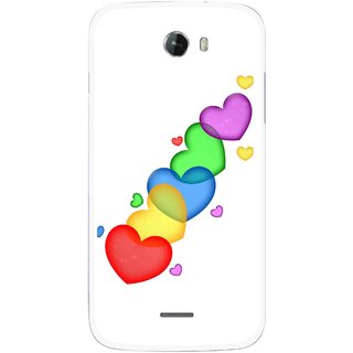 Snooky Printed Colorfull Hearts Mobile Back Cover For Micromax Bolt A068 - Multicolour