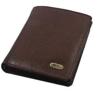 iMex Men s Brown Bi-fold Genuine Leather Wallet