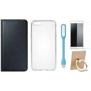 Lenovo K5 Plus Premium Leather Cover with Ring Stand Holder, Silicon Back Cover, Tempered Glas and USB LED Light