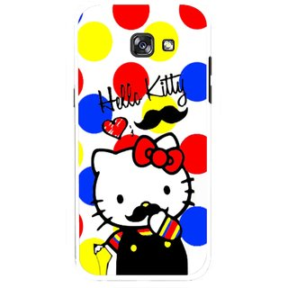 Snooky Printed moustache Kitty Mobile Back Cover For Samsung Galaxy A5 (2017) - Multicolour