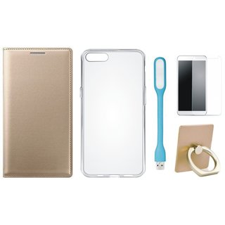 Moto G5s Flip Cover with Ring Stand Holder, Silicon Back Cover, Tempered Glas and USB LED Light