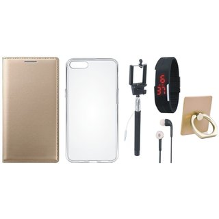 Moto G5s Leather Cover with Ring Stand Holder, Silicon Back Cover, Selfie Stick, Digtal Watch and Earphones