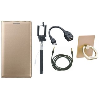 Samsung J7 Max ( SM-G615F ) Leather Flip Cover with with Ring Stand Holder, Selfie Stick, OTG Cable and AUX Cable