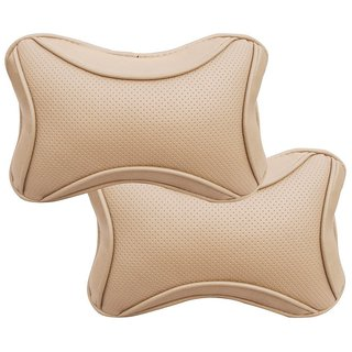 TOUCH (HIGH QUALITY BEIGE DOTS CAR NECK REST PILLOW SET OF 2 PIECES)UNIVERSAL FOR ALL CARS