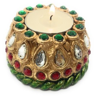 AuraDecor Tealight Stand Gold Finish With A Tealight Free