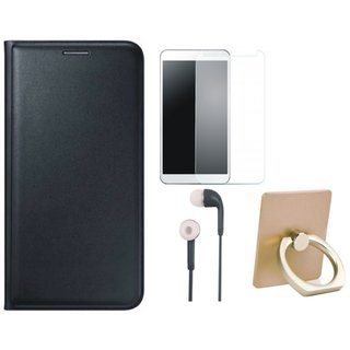 Lenovo K5 Plus Leather Flip Cover with with Ring Stand Holder, Tempered Glass and Earphones