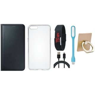 Lenovo K5 Plus Leather Flip Cover with with Ring Stand Holder, Silicon Back Cover, Digital Watch, USB LED Light and USB Cable