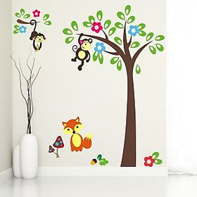 EJA Art Monkey Hanging On Tree Covering Area 120 x 120 Cms Multi Color Sticker