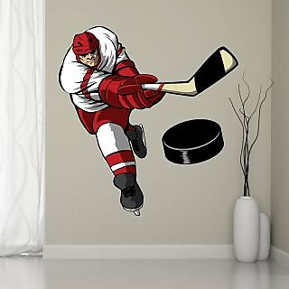 EJA Art Ice Hockey Player Covering Area 75 x 75 Cms Multi Color Sticker