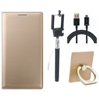 Moto G5s Leather Cover with Ring Stand Holder, Selfie Stick and USB Cable