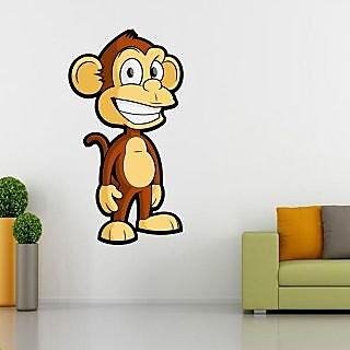 EJA Art Innocent Monkey Covering Area 60 x 32 Cms Multi Color Sticker