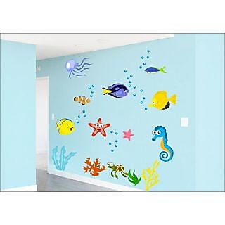 EJA Art Fish Aquarium Covering Area 180 x 120 Cms Multi Color Sticker