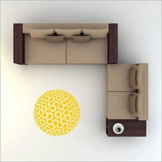 EJA Art Art No FS03 All Yellow Rangoli Floor Sticker (24x24 Inch)