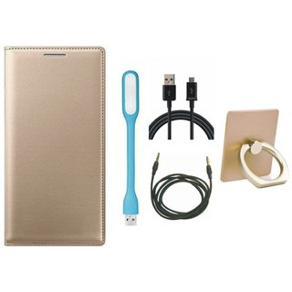 Moto G5s Premium Leather Cover with Ring Stand Holder, USB LED Light, USB Cable and AUX Cable