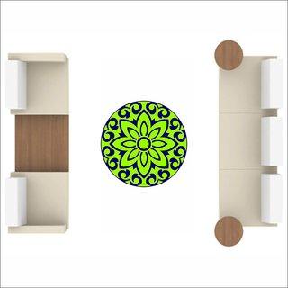 EJA Art Art No FS06 Black and Green Rangoli Floor Sticker (24x24 Inch)