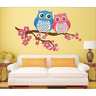 EJA Art Owl Always Love You Covering Area 90 x 60 Cms Multi Color Sticker