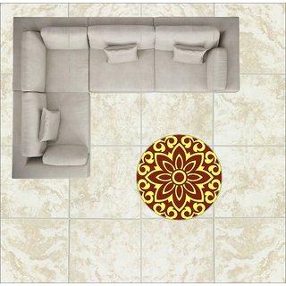 EJA Art Art No FS06 Brown and Yellow Rangoli Floor Sticker 24x24 Inch