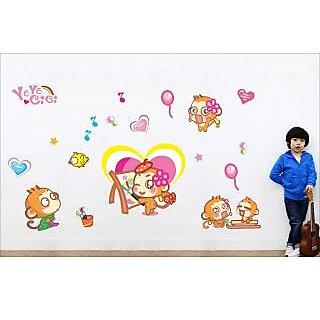 EJA Art Painter Monkey Covering Area 150 x 90 Cms Multi Color Sticker